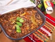 Винен кебап с телешко месо от глава печен в тава на фурна